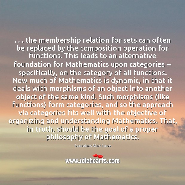 . . . the membership relation for sets can often be replaced by the composition Image