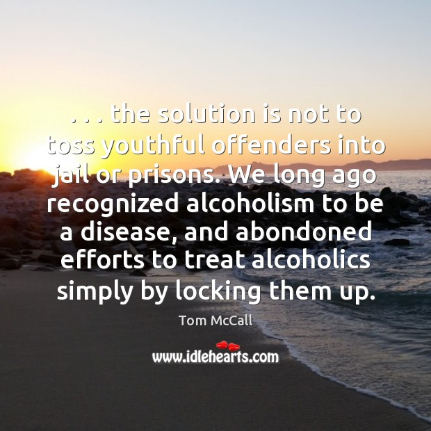 . . . the solution is not to toss youthful offenders into jail or prisons. Solution Quotes Image