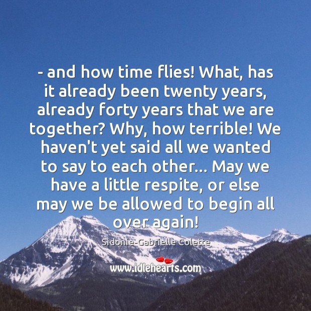– and how time flies! What, has it already been twenty years, already Sidonie-Gabrielle Colette Picture Quote