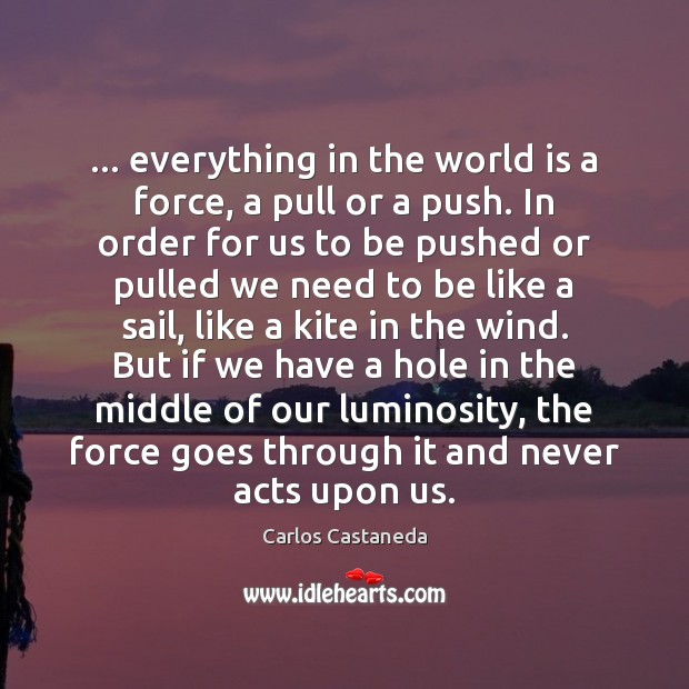 … everything in the world is a force, a pull or a push. Image