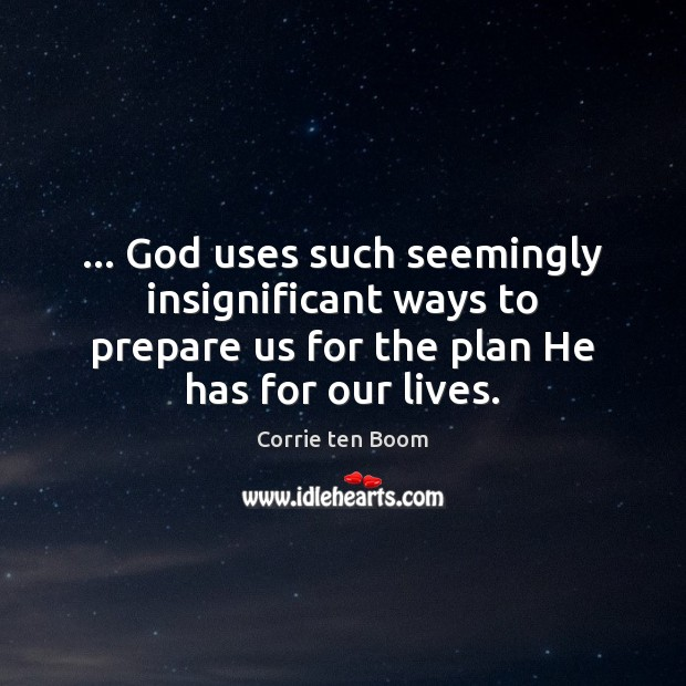 … God uses such seemingly insignificant ways to prepare us for the plan Corrie ten Boom Picture Quote