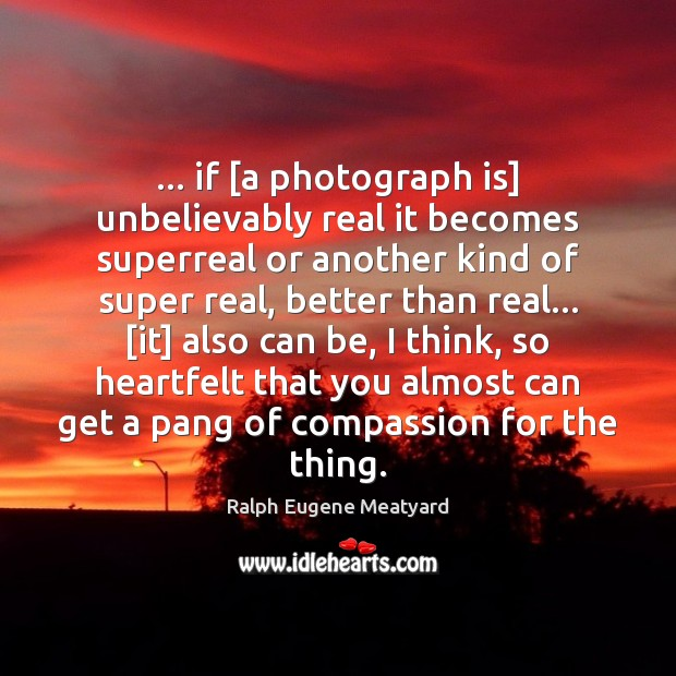 Image, … if [a photograph is] unbelievably real it becomes superreal or another kind