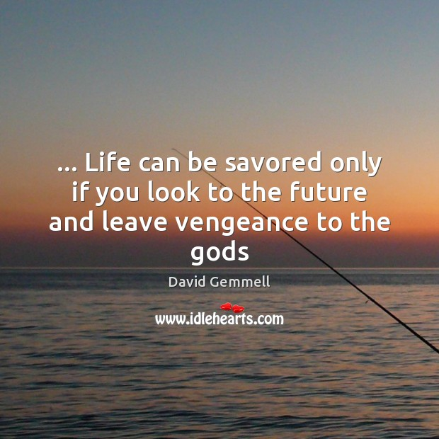 … Life can be savored only if you look to the future and leave vengeance to the Gods David Gemmell Picture Quote