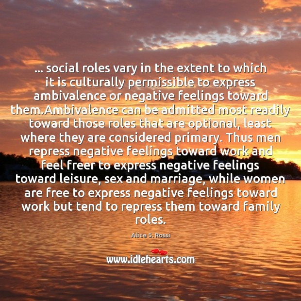 Image, … social roles vary in the extent to which it is culturally permissible