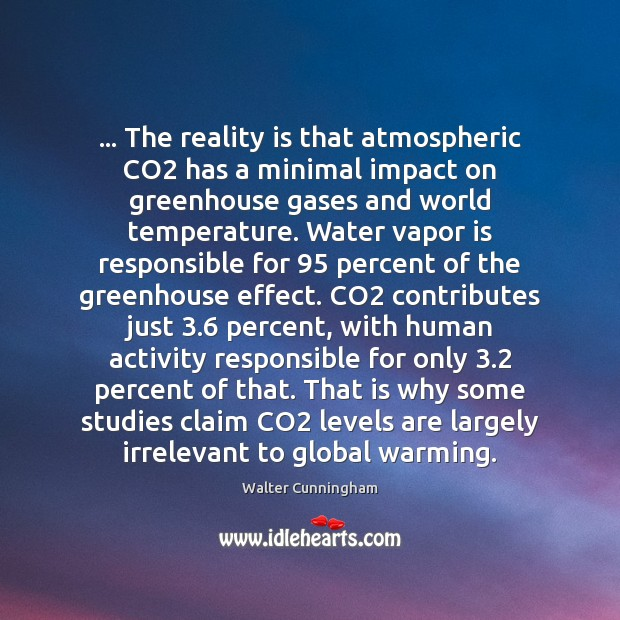 … The reality is that atmospheric CO2 has a minimal impact on greenhouse Reality Quotes Image