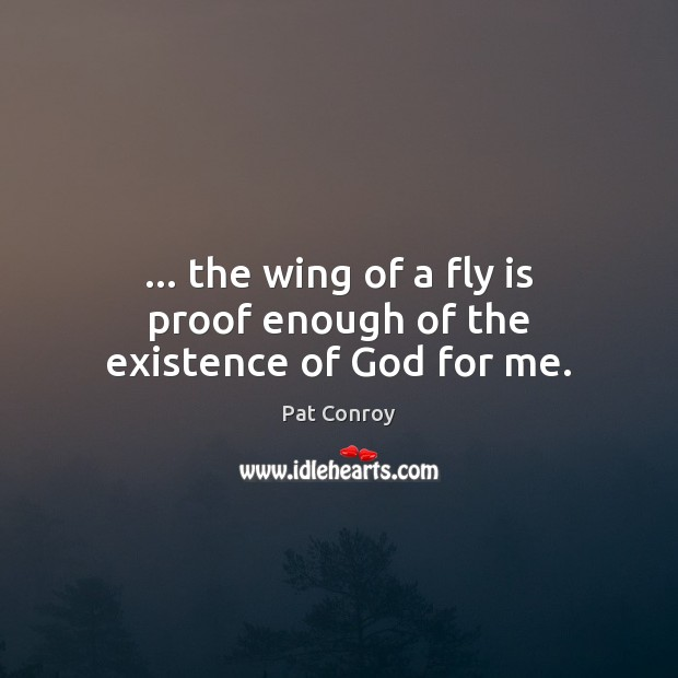 … the wing of a fly is proof enough of the existence of God for me. Pat Conroy Picture Quote