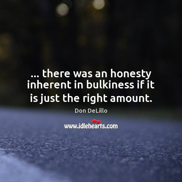 Image, … there was an honesty inherent in bulkiness if it is just the right amount.