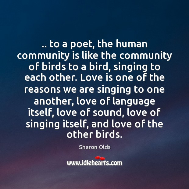 .. to a poet, the human community is like the community of birds Image