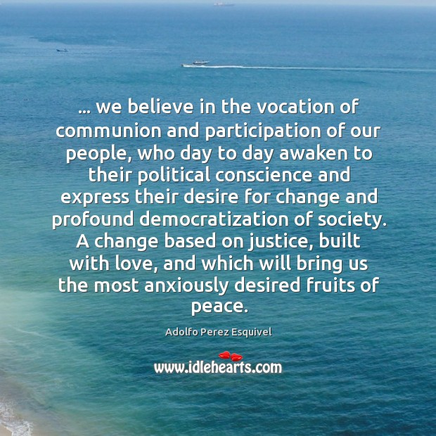 … we believe in the vocation of communion and participation of our people, Image