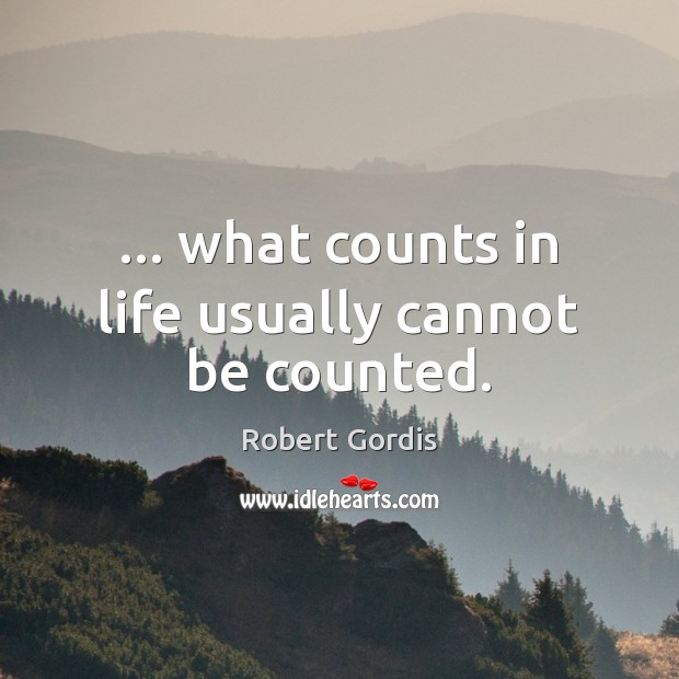 … what counts in life usually cannot be counted. Image