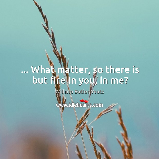 Image, … What matter, so there is but fire In you, in me?