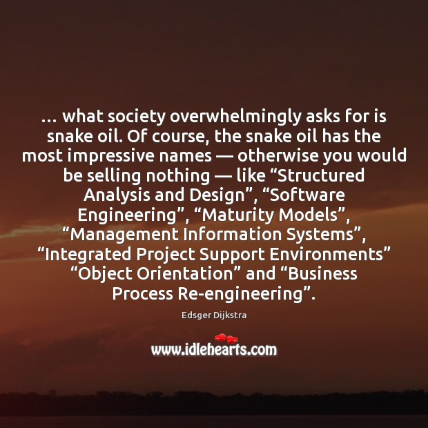 … what society overwhelmingly asks for is snake oil. Of course, the snake Edsger Dijkstra Picture Quote