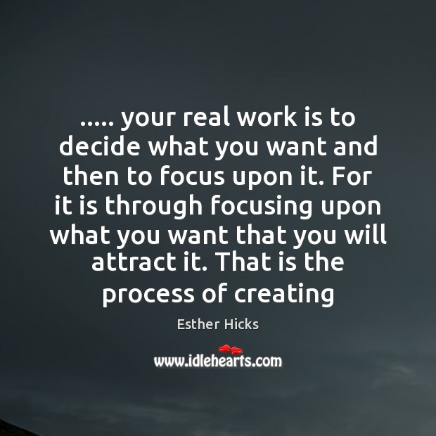 ….. your real work is to decide what you want and then to Esther Hicks Picture Quote