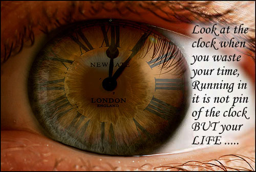 Look at the clock when you waste your time. Image