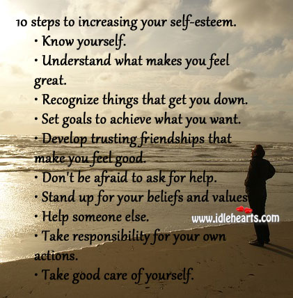 Image, 10 steps to increasing your self-esteem.