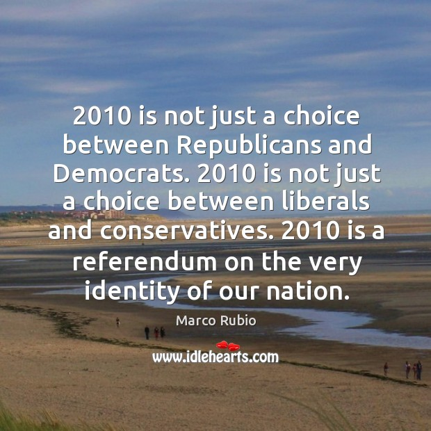 Image, 2010 is not just a choice between republicans and democrats.