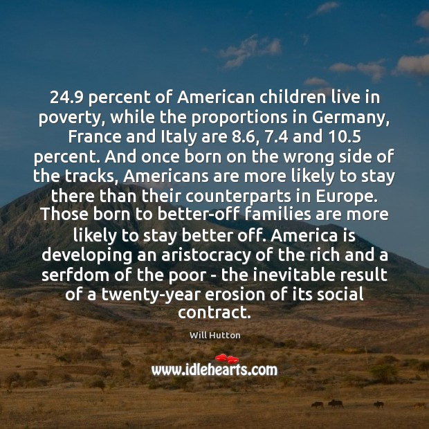 24.9 percent of American children live in poverty, while the proportions in Germany, Image