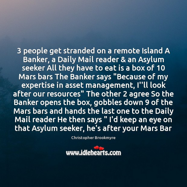 Image, 3 people get stranded on a remote Island A Banker, a Daily Mail