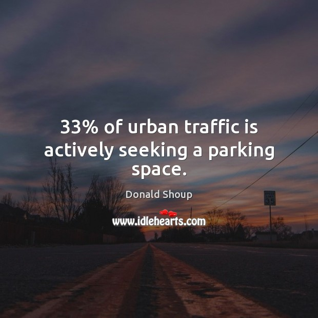 33% of urban traffic is actively seeking a parking space. Image