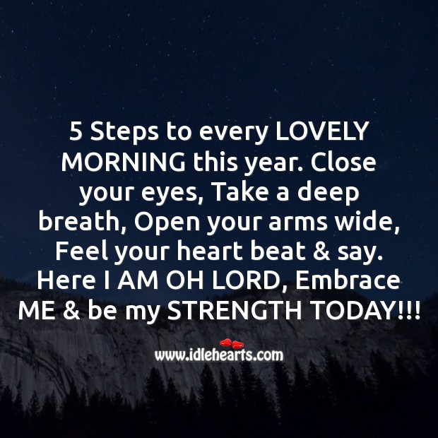 5 steps to every lovely morning this year. Image