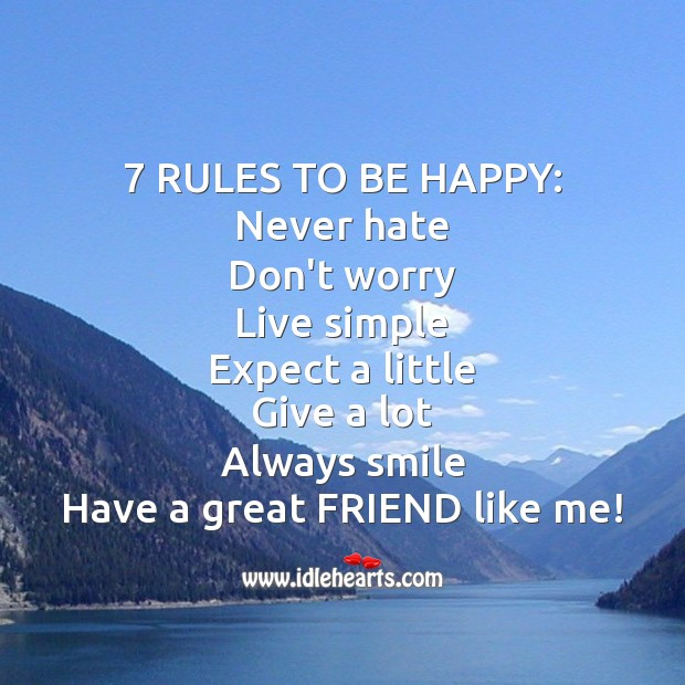Image, 7 rules to be happy