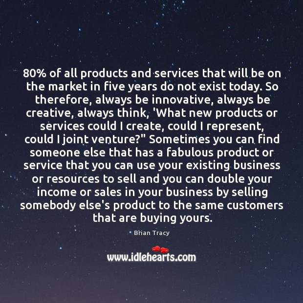80% of all products and services that will be on the market in Image