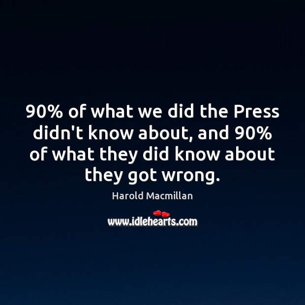 90% of what we did the Press didn't know about, and 90% of what Image