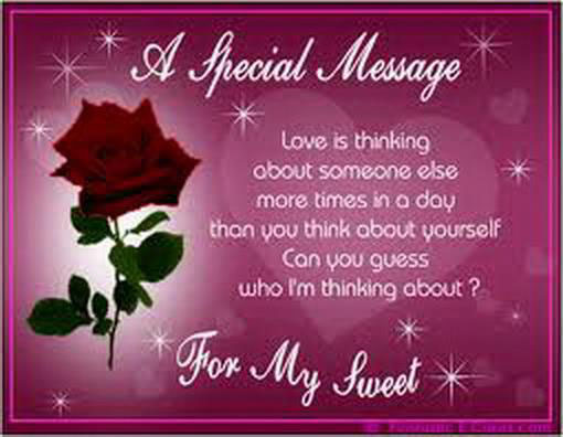 A Special Message… For You My Sweet Heart