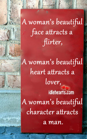 A woman's beautiful character attracts a man. Image