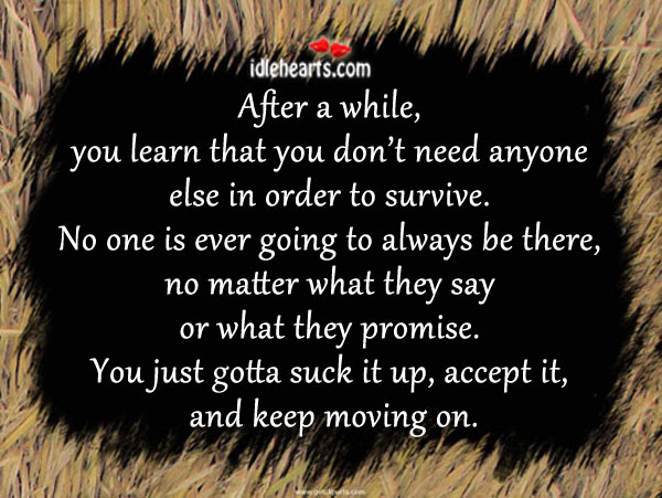After a While, You Learn That You Don't Need Anyone…