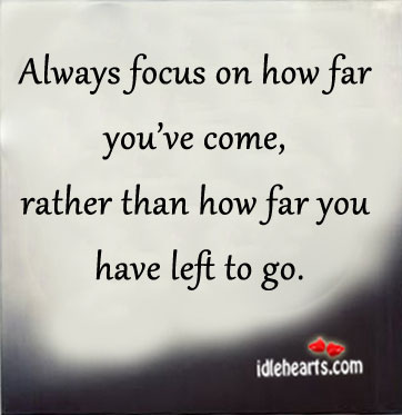 Always Focus On How Far You've Come….