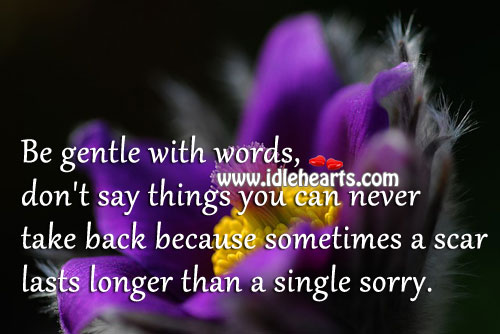 A Scar Lasts Longer Than A Single Sorry.
