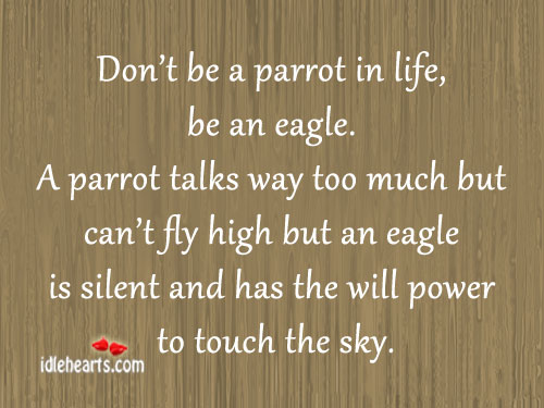 Don't be a parrot in life. Be an eagle. Image