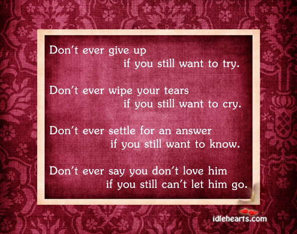 Don't Ever Give Up If You…