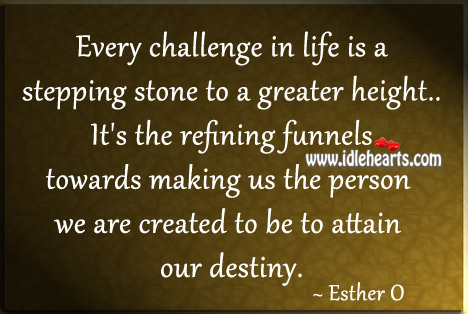 Every Challenge In Life Is A Stepping Stone To A Greater Height.
