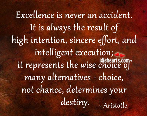 Excellence Is Never An Accident.