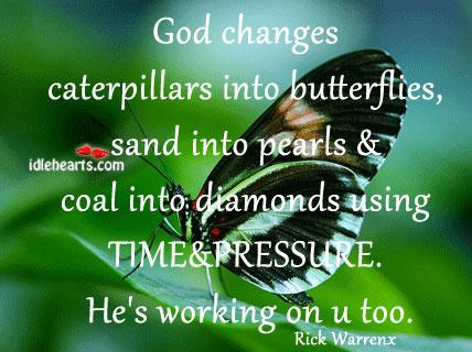 God changes caterpillars into butterflies. Image
