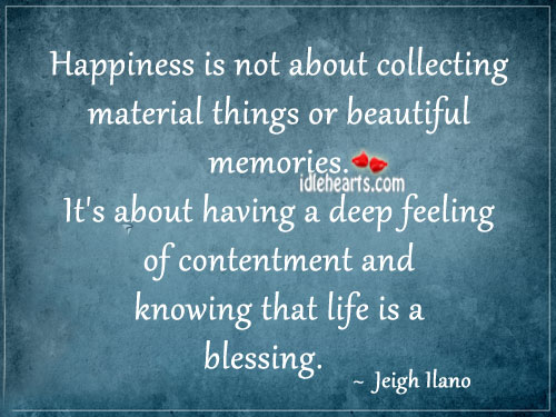 Happiness Is Not About Collecting Material Things Or…