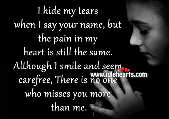 I hide my tears when I say your name, but the pain in my heart is still the same. Image