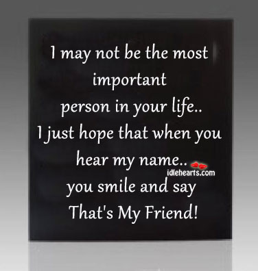 I May Not Be Your Most Important Person in the Life