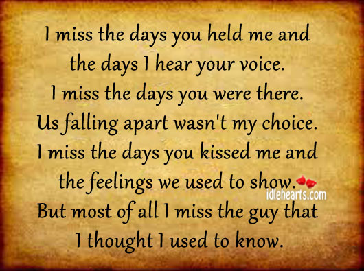 I Miss The Days You Held Me And The Days I Hear Your Voice.