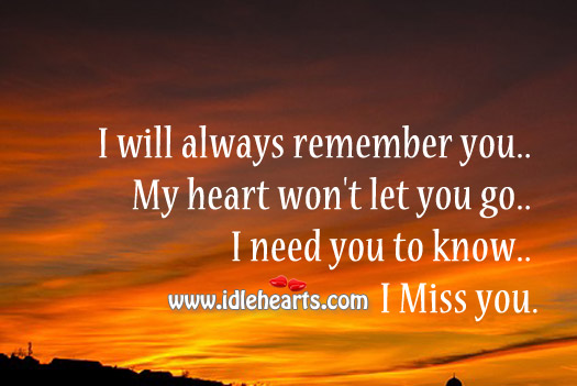 I will always remember you. My heart won't let you go. Image