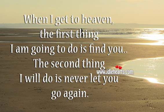 When I Get To Heaven, The First Thing I Am Going To Do Is Find You.