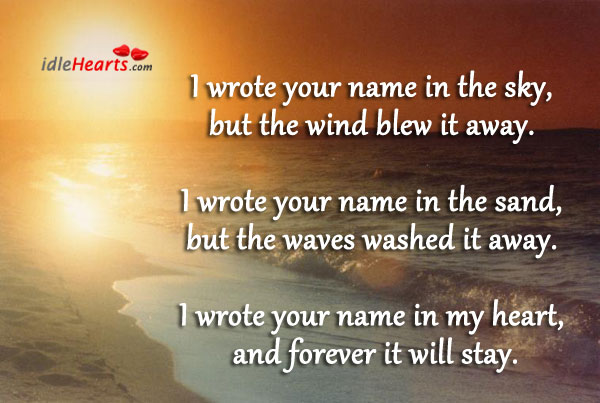I Wrote Your Name In The Sky, But The….
