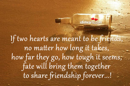 If Two Hearts Are Meant To Be Friends… Fate Will Bring Them Together