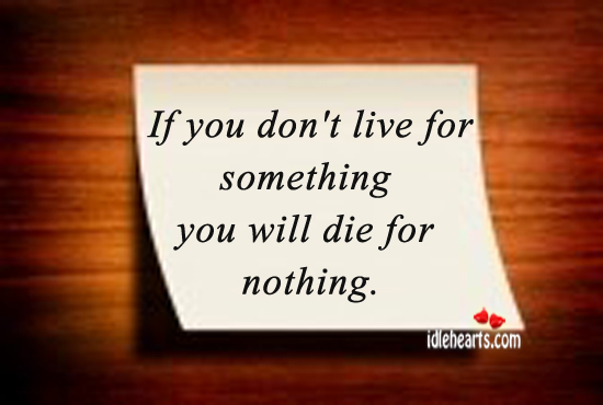 If You Don't Live For Something You Will Die For Nothing.