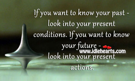 If You Want To Know Your Past – Look Into Your Present Conditions.