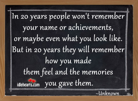 In 20 Years People Won't Remember Your Name Or Achievements…