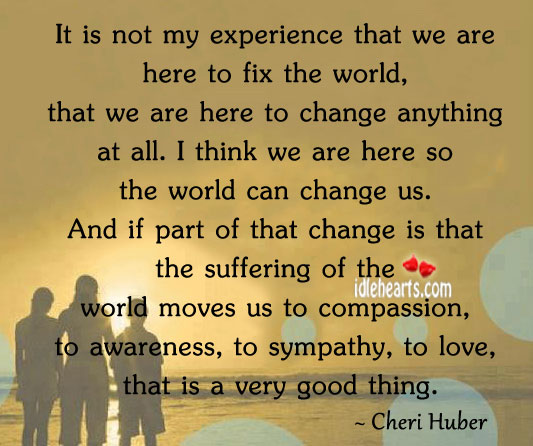 Image, It is not my experience that we are here to fix the world