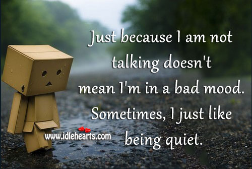 Just Because I Am Not Talking Doesn't Mean I'm In A Bad Mood.